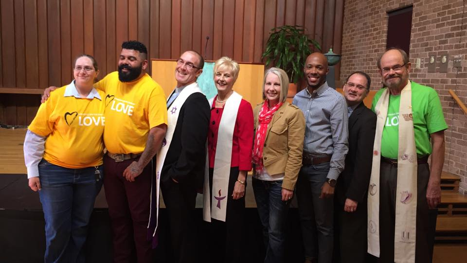 Rev. Tony with other Houston pastors at a prayer service in support of the Houston Equal Rights Ordinance.